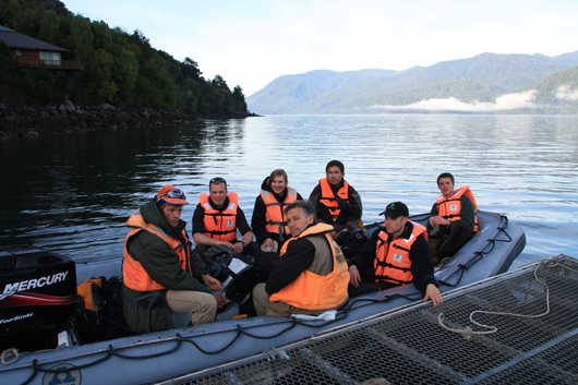 the plant collecting team on a boat