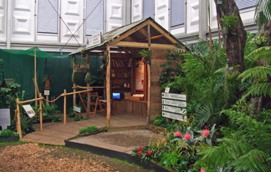Wood hut in the middle of tropical plants
