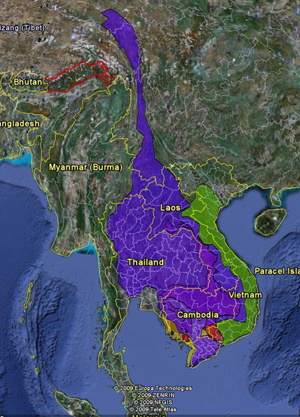 google earth map of greater mekong region