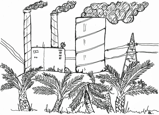 cartoon of power station and palm trees by chris bisson